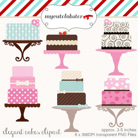 Cakes Clipart Set - clip art set of elegant cakes ...