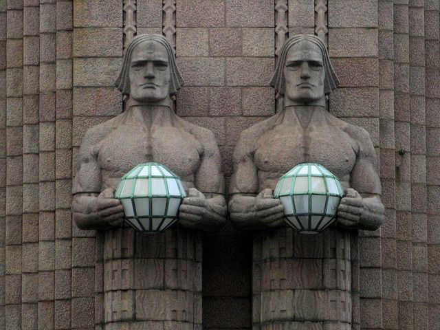 Art Deco sculptures & lighting on Helsinki Railway Station.