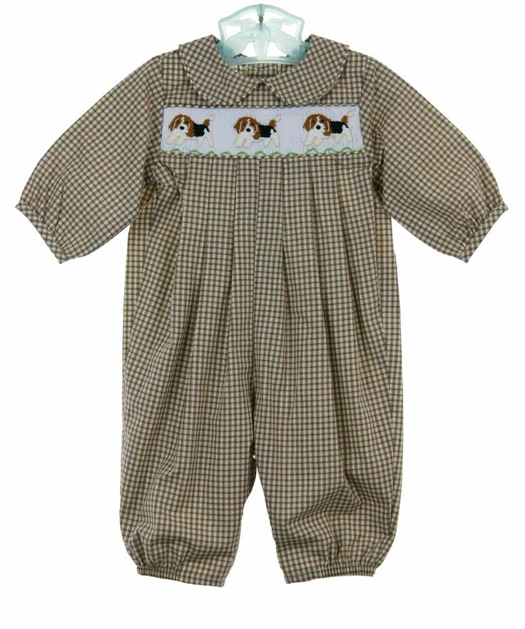 New Bailey Boys Brown Plaid Smocked Longall With