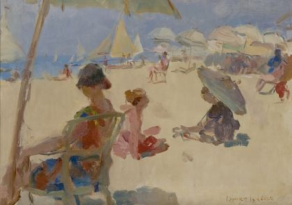 'Isaac' Lazarus Israels (1865-1934) Figures on the beach of Il Lido di Venezia, oil on canvas. Collection Simonis & Buunk, The Netherlands.