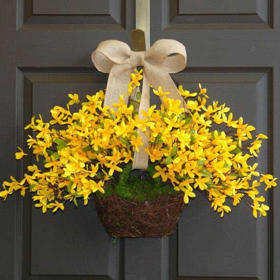 spring wreath Easter wreaths yellow forsythia wreath front door wreath, decorations, burlap bow spring wreath on Etsy, $75.00