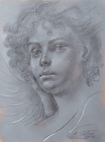 Ulisse Sartini,  Estudi para angel custodio