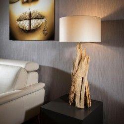 Beautiful Tall Modern Designer Driftwood Table Lamp/Light White 100cm
