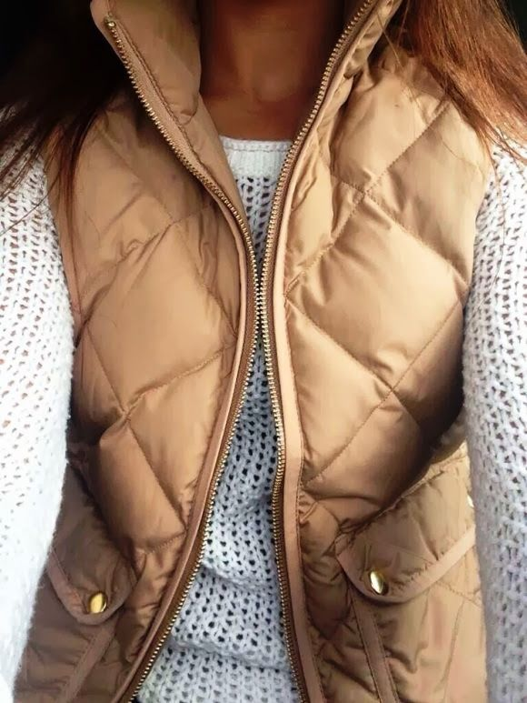 Super cute fall fashion with J.Crew Vest and cozy sweater