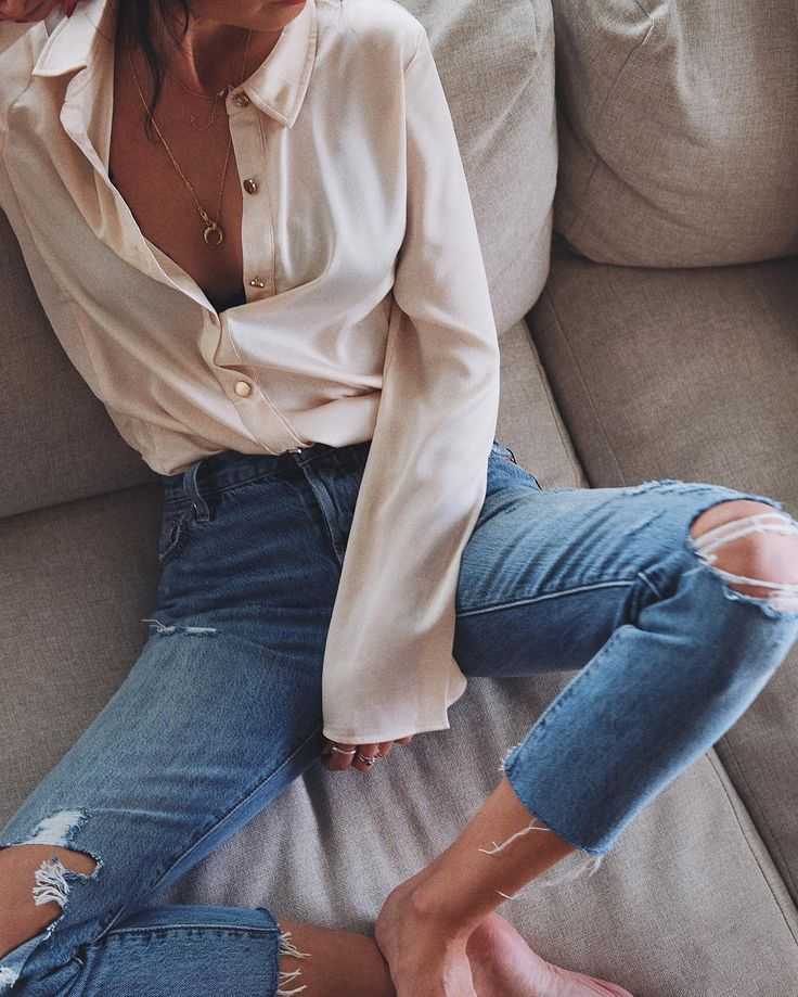 Ripped and frayed skinny jeans.
