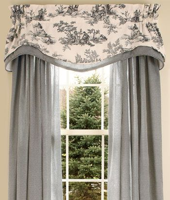 ...in red for the living room.  country curtains.  Lenoxdale Toile Layered Scalloped Valance