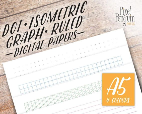 Printable A5 sized dotted paper in 4 colors to build your own DIY bujo dot grid notebook. This starter kit bundle has you covered with graph, isometric, lined and dot grids galore and are a cinch to print. Dotted Paper A5 | Bujo | Printable | by PixelPenguinPress on Etsy $3.99 http://etsy.me/2pCc2Ri