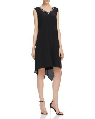 Magaschoni Embellished V-Neck Silk Dress   Bloomingdale's