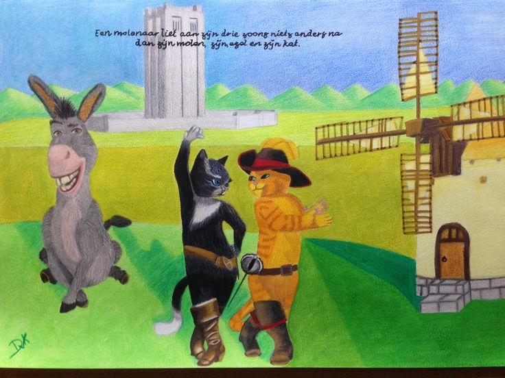 Een molenaar liet aan zijn drie zoons niets anders na dan zijn molen, zijn ezel en zijn kat.