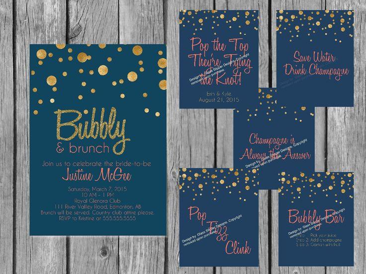 Printable Champagne bridal shower bundle/bridal brunch shower bundle/bridal shower decor/bridal shower signs/champagne shower bundle by glassslipperdesigns on Etsy