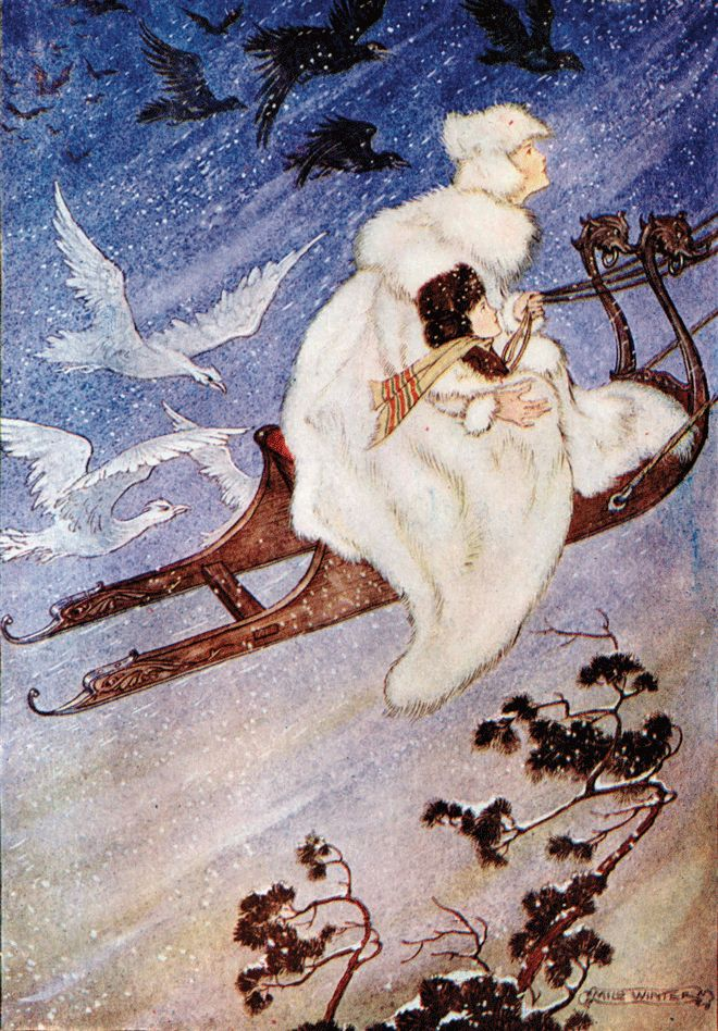 'The Snow Queen' an illustration from 'Hans Andersen Fairy Tales' – Illustrated by Milo Winter http://www.amazon.com/gp/product/1445508672/ref=as_li_tl?ie=UTF8&camp=1789&creative=9325&creativeASIN=1445508672&linkCode=as2&tag=reaboo09-20&linkId=UC6UO7ESJVQMDEIZ