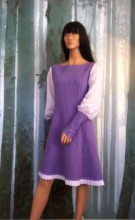 "MinSin, light purple wool  dress with chiffon sleeves. ""Elenora"""