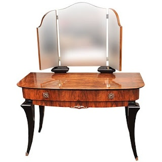 Amazing 1930u0027s French Art Deco Walnut And Black Lacquer Dressing Table With  Original Nickel Plated Hardware