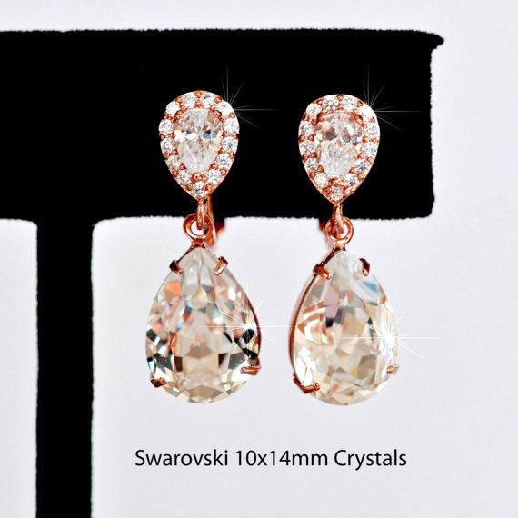 Rhodium or Rose Gold Handmade Small Swarovski Clear Crystal &