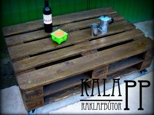 120x80-as paliszander raklapasztal / DIY pallet table in palisander color with wheels