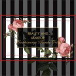 Your name or business name is elegantly displayed over a black and white striped background with a vintage floral illustration overlay for a very chic and stylish aesthetic. This design is part of a series of coordinating office supplies. Shop matching stationery, rack cards, labels and more in our shop: zazzle.com/1201am. For design requests or questions, please reach out to us at www.1201am.com. © 1201AM CREATIVE