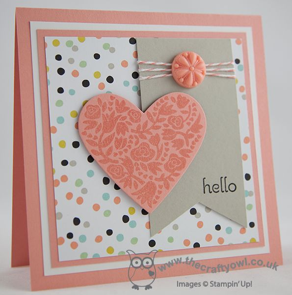 Flowerfull Heart and Sale-A-Bration Sneak Peek! Flowerfull Heart, Hearts Framelits, Sweet Sorbet Designer Series Paper, Delightful Thoughts