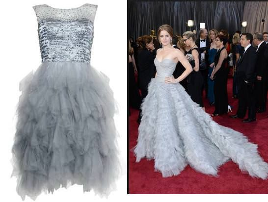 hollywood style silver tea dress | New Look's Silver Prom Dress inspired by Amy Adams Oscar style