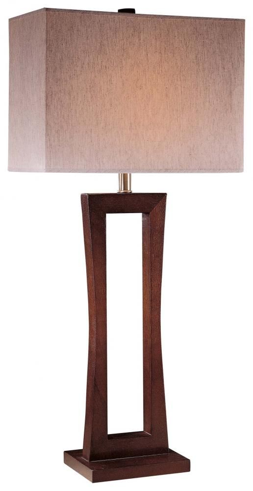 """A stunning Metropolitan cherry finish, 34"""" high, contemporary! Give this Minka table lamp a second look for your living room!"""