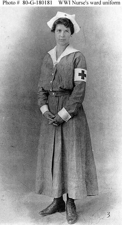 WWI Red Cross nurse uniform. ~ ~~http://www.history.navy.mil/photos/images/g100000/g180181c.htm#