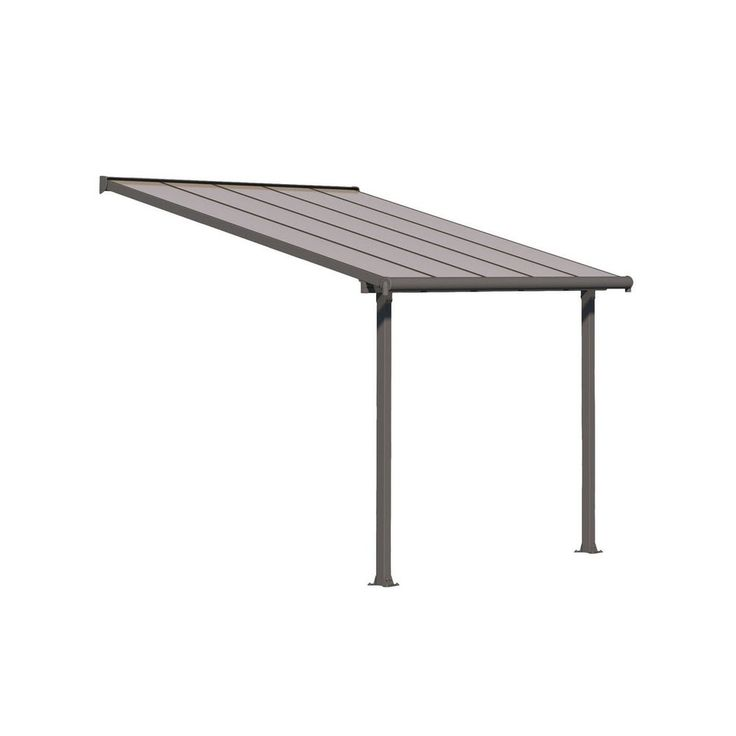 Palram Olympia 10 X 8 Patio Cover With Bronze Twin Wall Roof Panel And Gray Aluminum Frame In 2020 Patio Roof Panels Polycarbonate Roof Panels