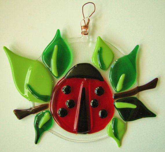 Fused Glass Ladybug Suncatcher by SmashinGlassGallery on Etsy