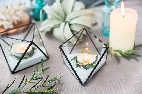 Wedding candle – Wedding candle holders – Candle holder glass – Wedding candle favors – Candlestick – Modern wedding decor (JB11)