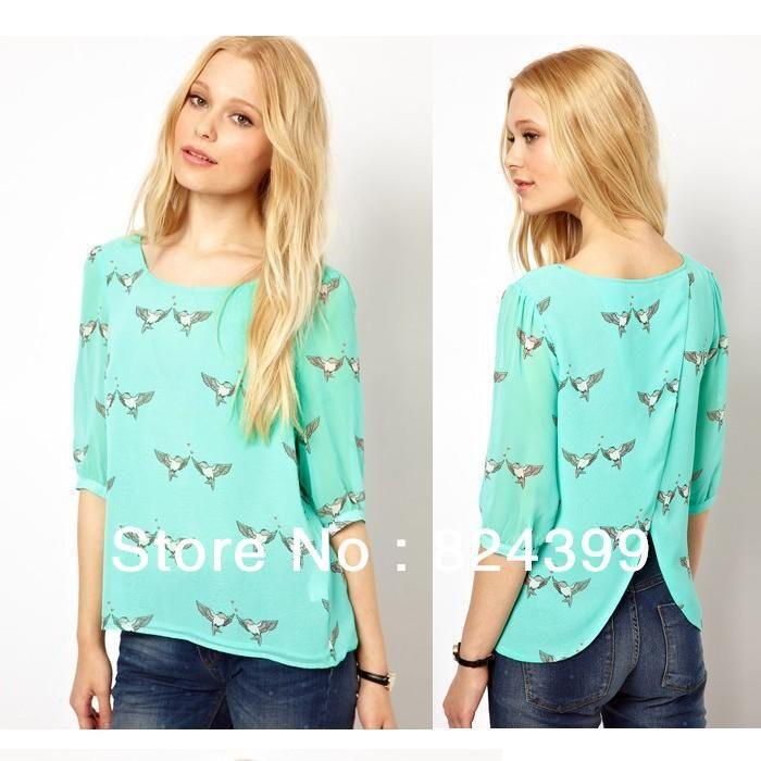 nuevo especial de tapas de las mujeres las mujeres blusa de gasa debajo de la camisa ropa de dama de amor de aves de impresión abiert...