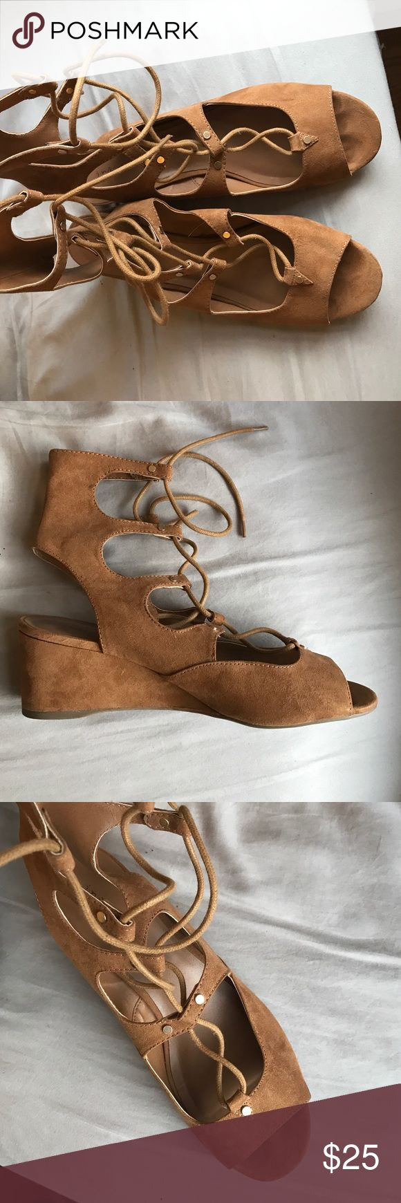 Tan strappy mini wedges size 9.5 Tan strappy mini wedges! Worn once. Size 9.5 indigo Shoes Wedges