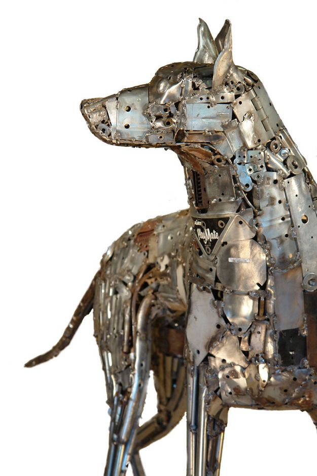 Metal sculpture with found objects