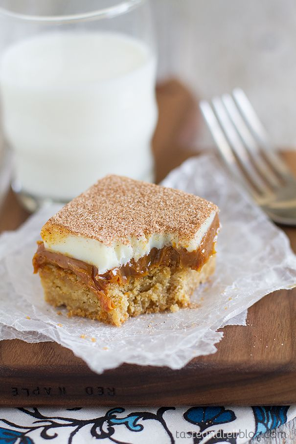 Caramel Snickerdoodle Bars recipe Taste and Tell blog
