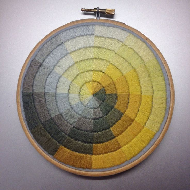 Satin stitched colourwheel hand embroidery by Corinne Sleight 2015