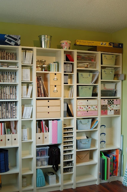 IKEA Billy Bookcases For Crafting Supplies And Tools.