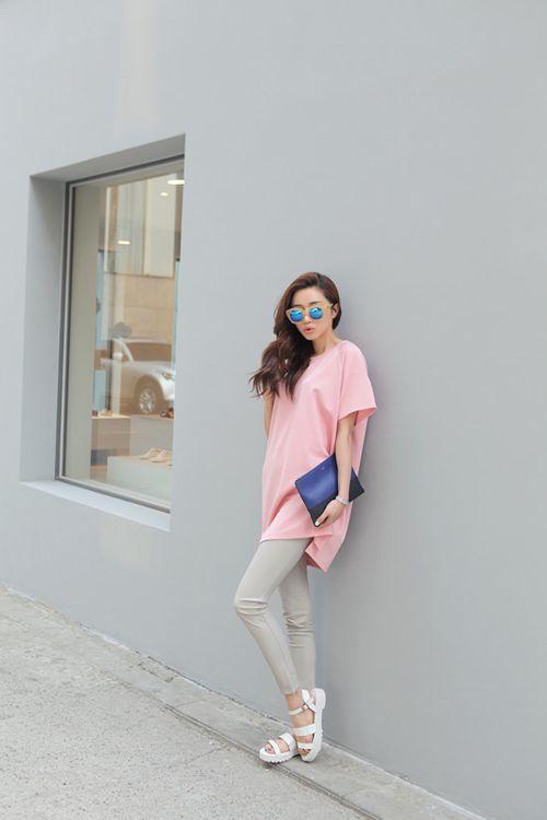 Pink Raglan Sleeved Long Shirt With Slit Sidesvia stylenanda