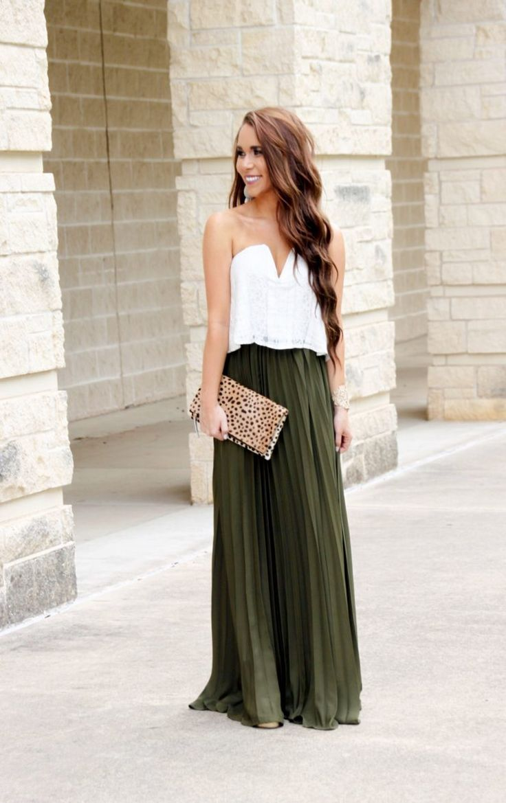 Olive Pleated Maxi Skirt Under $30 - Sunshine & Stilettos Blog (Instagram: @katlynmaupin