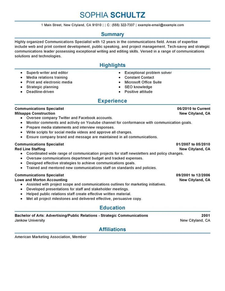 communications resume objective template corporate samples public relations for specialist
