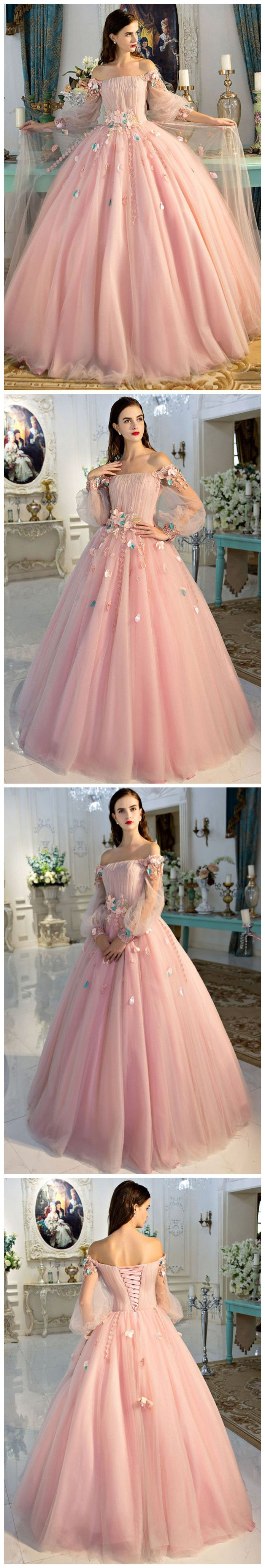 CHIC A-LINE PINK PROM DRESS,OFF-THE-SHOULDER TULLE APPLIQUE LONG SLEEVE EVENING DRESS PARTY DRESS AM169