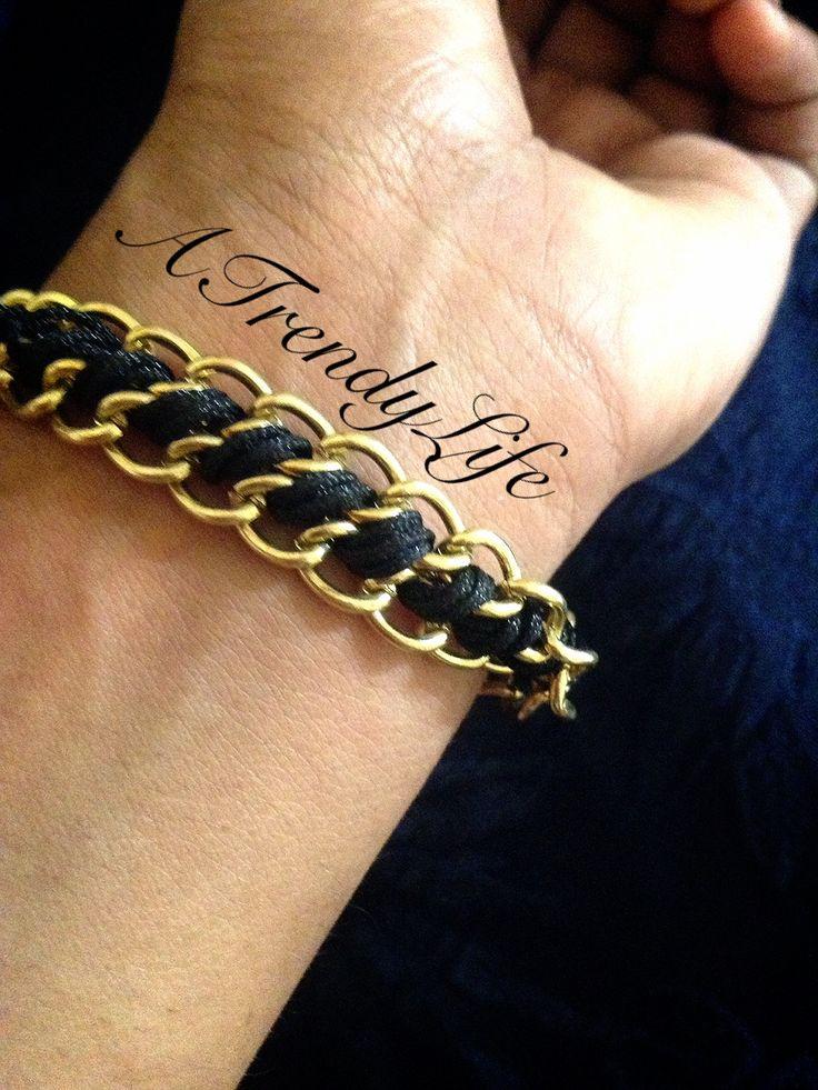 DIY Chain Bracelet  http://atrendylifehere.blogspot.com/2013/06/diy-chain-ribbon-bracelet.html