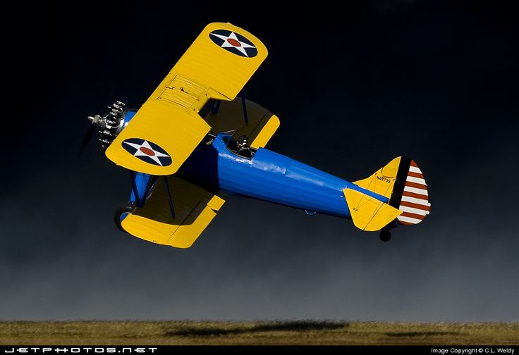 #boeing #stearman.  Dressed up in Army Air Corps colors.  Also known as a PT-17 Cadet.