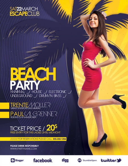 Promote your party with this colorful and tropical flyer/poster. The colorful design makes it stand out from others and it's all you need to guarantee your party's succes. You can easily change the colors with a minimal Photoshop knowledge (or e-mail me and i'll do it for you).    MORE INFO AND PSD DOWNLOAD HERE: http://graphicriver.net/item/beach-party-flyer-poster/2004898?ref=artbreeze