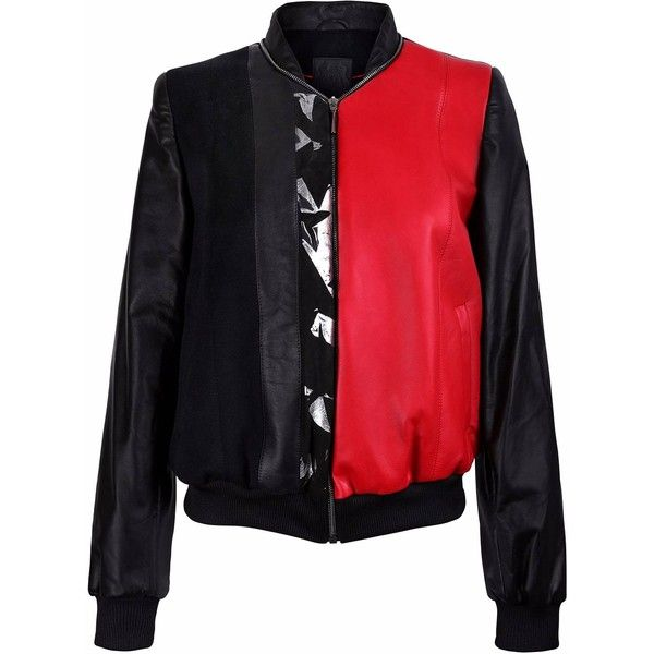 Vols & Original - Black & Red Leather Bomber Jacket With Silver Print... ($850) ❤ liked on Polyvore featuring outerwear, jackets, red sports jacket, silver leather jacket, flight jacket, bomber jackets and red jacket