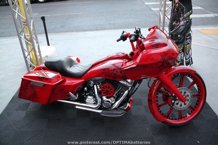 #red custom motorcycle at #SEMA 2012