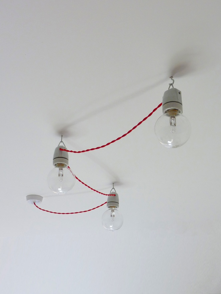 Vintage style festoon ceiling lights with braided fabric cord - Set of three