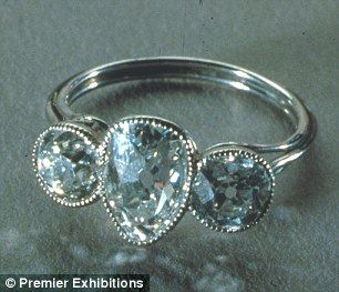 Platinum ring with three diamonds this  diamond ring probably belonged to one of Titanic's first-class passengers