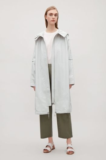 COS image 1 of Oversized cotton parka in Light Stone
