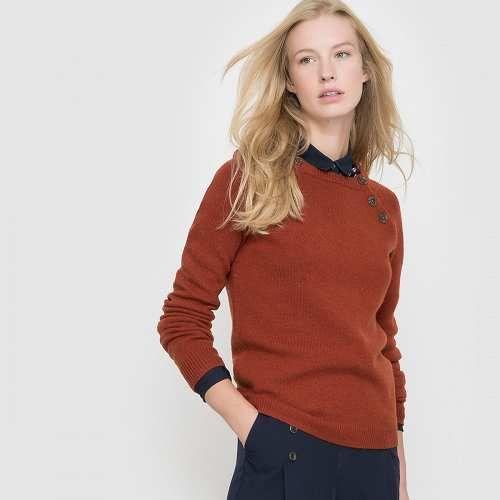 Prezzi e Sconti: #Pull bottoni al giromanica 50% lana Rosso  ad Euro 28.46 in #R essentiel #La redoute donna abbigliamento