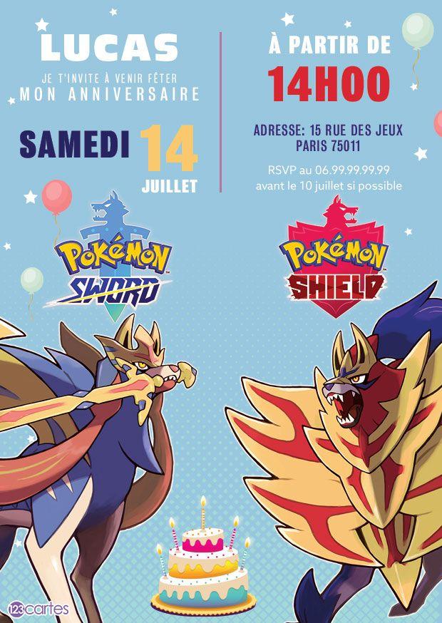 Invitation Anniversaire Pokemon Epee Et Bouclier A Personnaliser En Ligne Invitation Anniversaire Garcon Invitation Anniversaire Carte Invitation Anniversaire