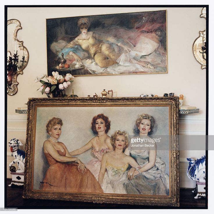 A painting of actress Zsa Zsa Gabor with mother Jolie Gabor and sisters Magda Gabor and Eva Gabor is photographed in her home for Vanity Fair Magazine on May 5, 2007 in Bel Air, California.