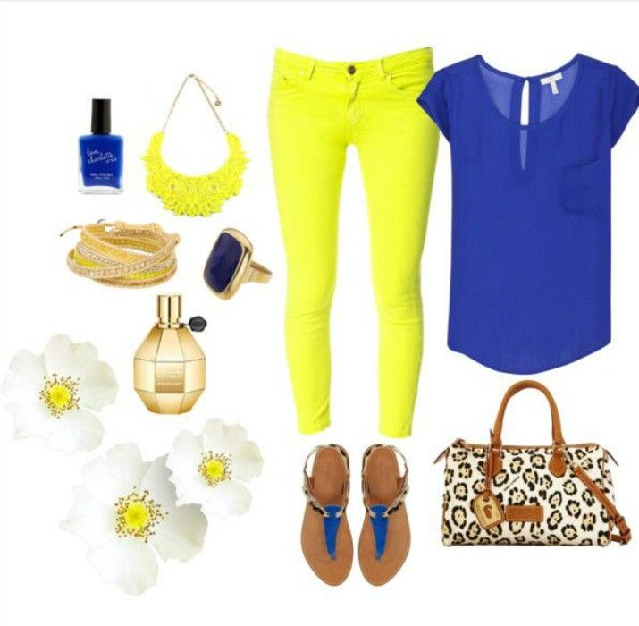 Blue & neon outfit
