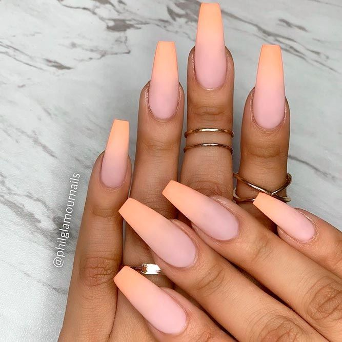 Over 40 Spicy Ombre Nails Transitions To Try Naildesignsjournal Peach Nails Ombre Nails Cute Acrylic Nails
